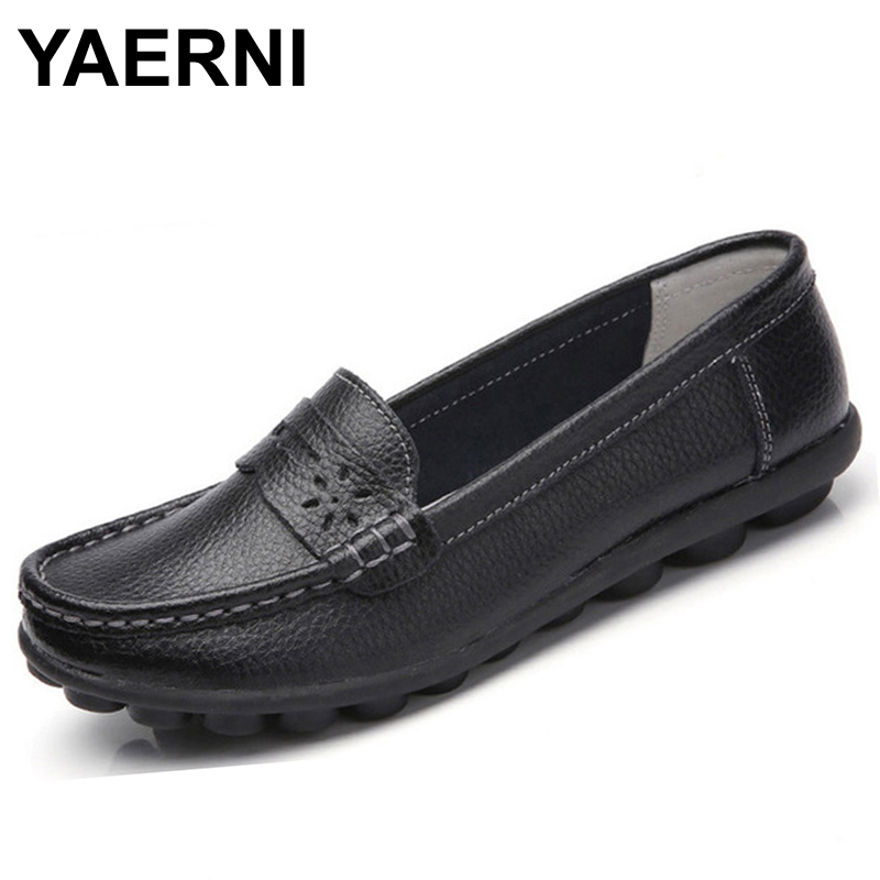 YAERNI New Women Real Leather Shoes Moccasins Mother Loafers Soft Leisure Flats Female Driving Casual Footwear Size 35-44 In 4 C split leather dot men casual shoes moccasins soft bottom brand designer footwear flats loafers comfortable driving shoes rmc 395