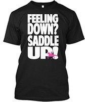 New Funny T Shirt Men Brand Clothing Fashion Printed Short Horse Riding Feeling Down Saddle Up