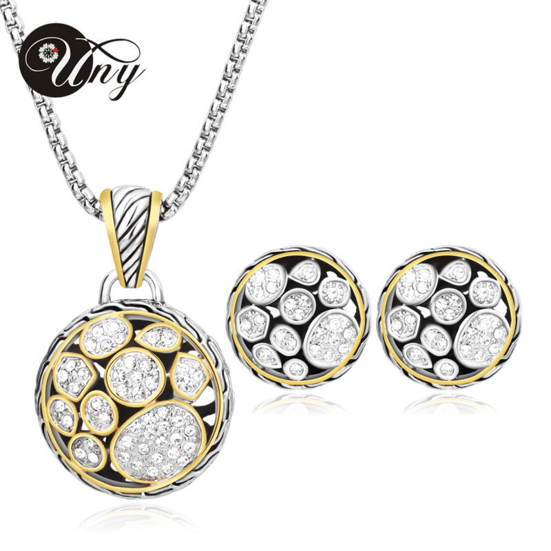 UNY Unique Pendant Necklaces set for Women Accessories Wedding Jewelry Sets 2 Tone gold plated Round