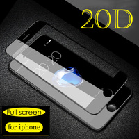20D Protective Glass on the For iPhone 6 7 8 plus X glass full cover iPhone XR Xs Max 6s plus Screen Protector Tempered Glass