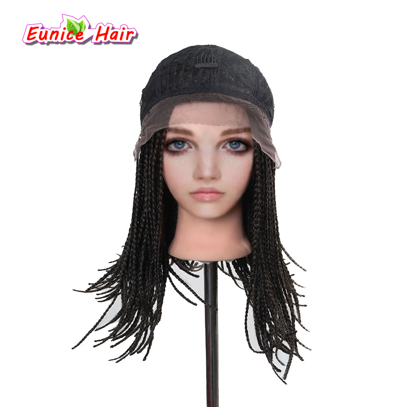 Eunice Color 4 Ombre 16inch Bob Synthetic Lace Front Wig with Baby hair Box Braiding Hai ...