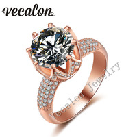 Vecalon розовое золото обручальное кольцо для женщин круглая огранка 6ct AAAAA Циркон CZ стерлингового серебра 925 женский Обручение кольцо