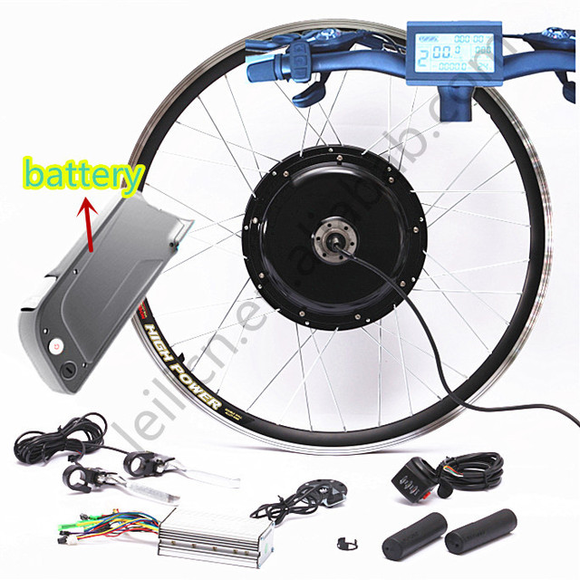 Electric Bicycle Motor Kit With Battery In India: NEW LCD System Free Shipping 65kph Speed Rear Wheel 1500w