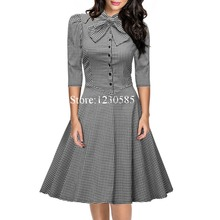 2016 New Black White Plaid 3 4 Long Sleeves Bow Ball Gown Women Dress Vintage Princess