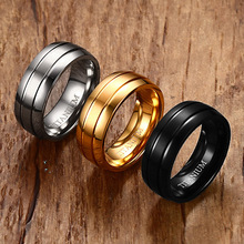 2017 Recommend Top Quality Fashion Black Silver Gold-Color Titanium Men Ring Trendy Brand 8mm Rings For Male Jewelry