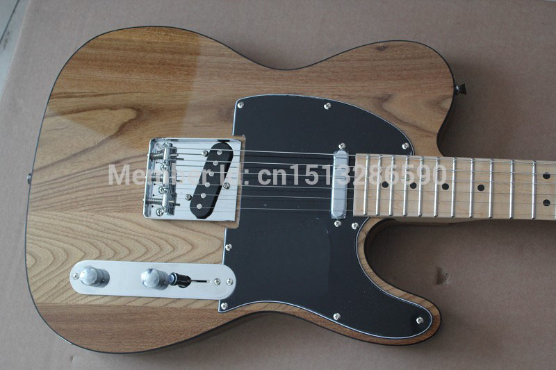 . Free shipping/Top quality New style Arrival Natural wood color TELE Electric Guitar Black tipping in stock free shipping retail new electric bass guitar body in natural color foam box