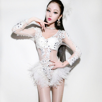 Nightclub Singer Dj Stage Clothes Ds Costume Sexy Open Waist Hollow White Diamond Lace Ostrich Wool Jumpsuit