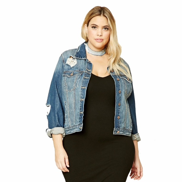 c490c7cd5 Plus Size Hole Vintage Single Breasted Denim Jacket Women Streetwear ...