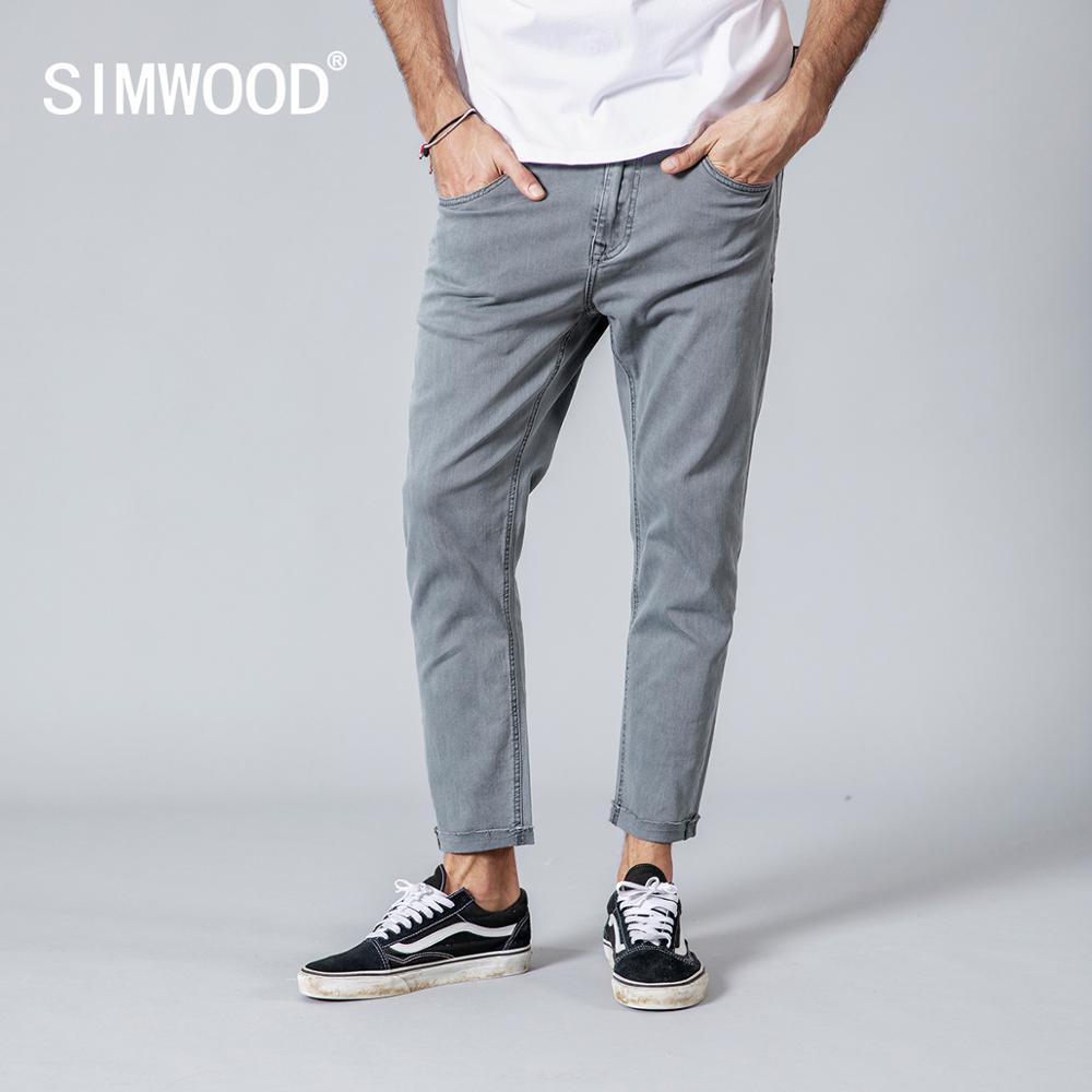 SIMWOOD 2019 Autumn Winter New Jeans Men Casual Slim Fit Ankle-Length Denim Pants Unfinished Hem Jeans Plus Size 180077