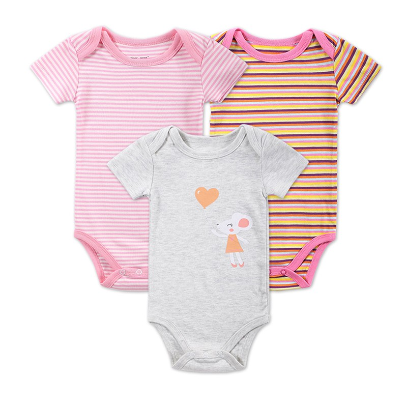 3 Pieceslot Baby Fashion Striped Short Sleeve Rompers Children Jumpsuit Newborn Boys Girls Clothes Body Roupa de bebe Overalls (6)