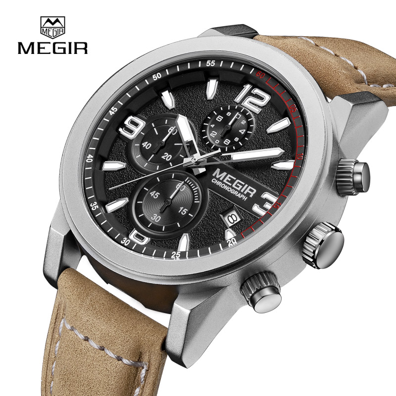 Megir Fashion Mens Chronograph Leather Strap Quartz watches with Luminous Needles Casual Luxury Calendar Wristwatch for