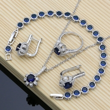 Blue Cubic Zirconia 925 Silver Bridal Jewelry Sets Docoration For Women Wedding Earrings Rings Dropshipping Necklace Set недорого