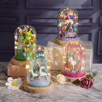 DIY Magic Clay Sets Ultra Light Sculpture Plasticine Fimo Doll Crafts Kits with LED Glass Dust Cover Modeling Toy Handmade Decor