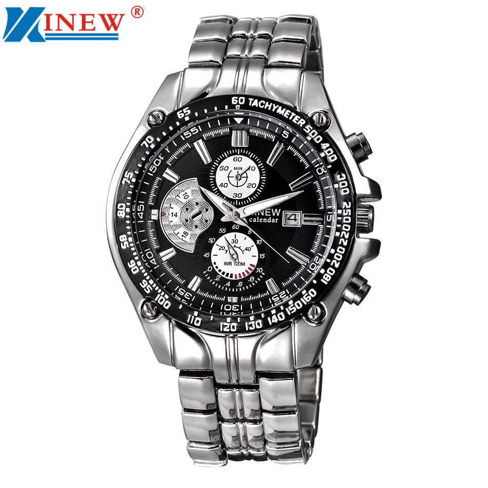 New Arrivals Men's Fashion Military Wath Men Stainless Steel Analog Date Sport Quartz Wrist Watch High Quality Business Watches