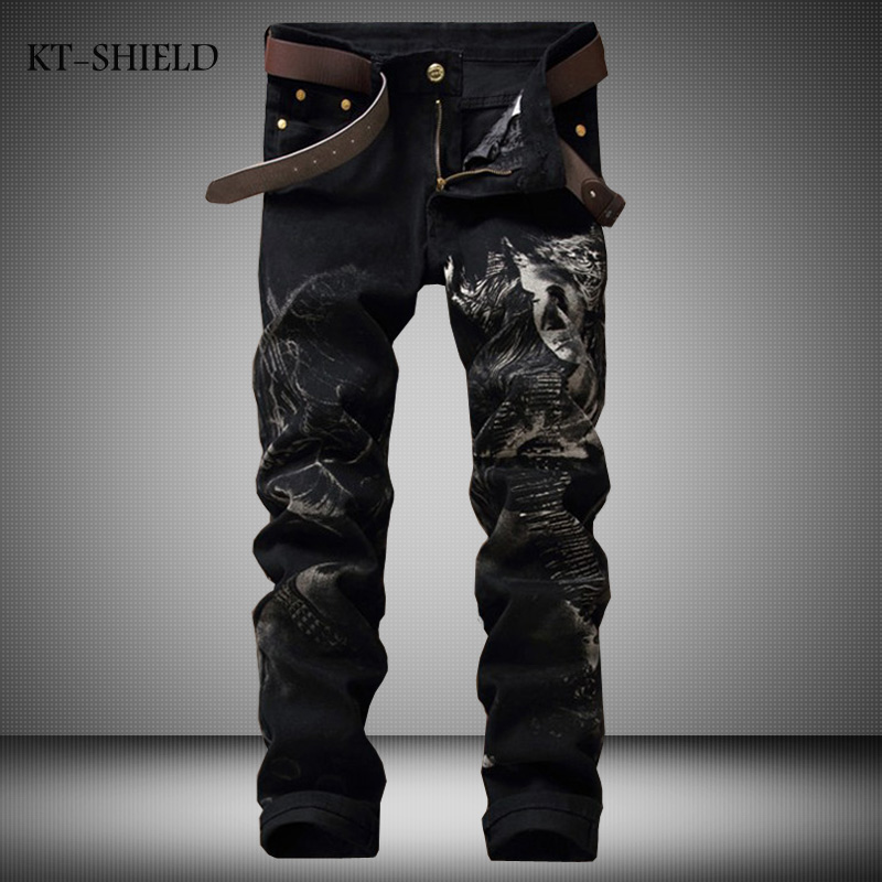 Black Jeans Men Cotton Brand Designer 3D Printed Fashion Denim jeans skinny biker trousers Joggers Pantalones Hombre Vaqueros