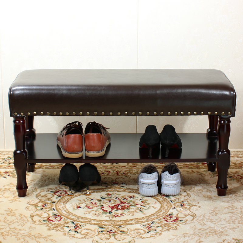 10%European shoes bench solid wood shoe rack stool shoe stool door wear shoes stool storage American sofa stool