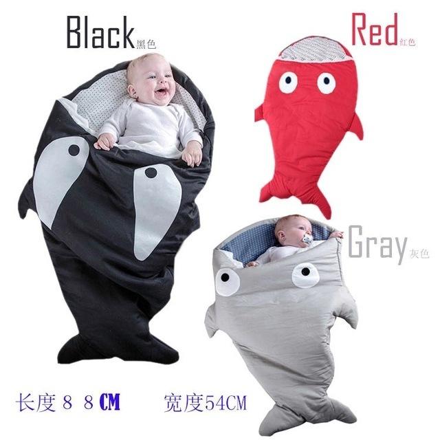 . Tubarão bonito Dos Desenhos Animados Do Bebê Saco de Dormir Inverno Saco de Sono Do Bebê Bebê Aquecido Cobertor Swaddle Quente