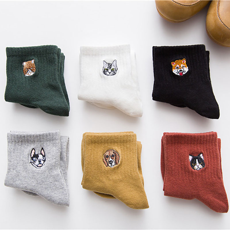 Female cartoon dog cotton   socks   art female character pattern short cute   socks   fashion fashion animal print   socks