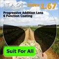 Adulto 1.67 Freeform Índice Progressivas Multifocais Prescrição Óptica Óculos de Lente Para Óculos Com 6 Função de Revestimento