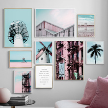 High Tower Windmill Coast Building Landscape Wall Art Canvas Painting Nordic Posters And Prints Pictures For Living Room