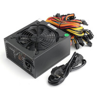 AU 1600W ATX Machine Modular Power Supply For Eth Rig Ethereum Coin Miner Mining Supports 6