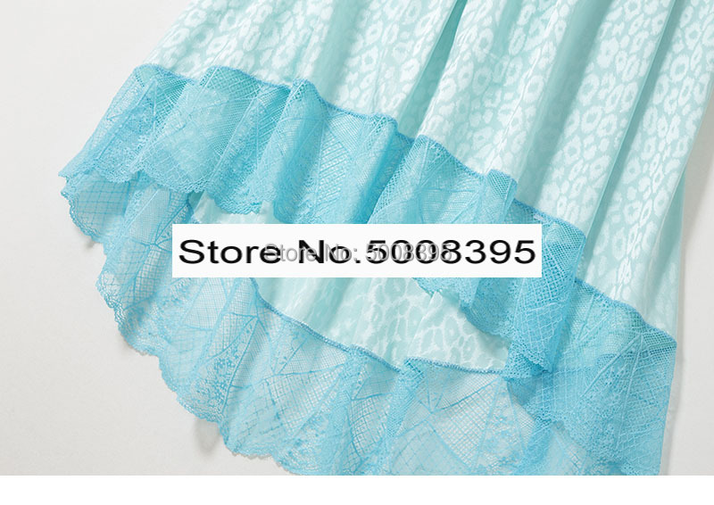 امرأة الأزرق JOSLIN JAC ليو تنورة 100% الحرير الجاكار حريري الدانتيل تفصيل تنحنح غير المتماثلة طويلة التنانير مع جيب مرونة waitband-في تنورة من ملابس نسائية على  مجموعة 3