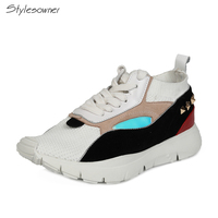 Stylesowner Flat Patchwork Women Casual Sneakers Tenis Feminino Ladies Travel Shoes Real Leather Rivets Brand Platform Sneakers