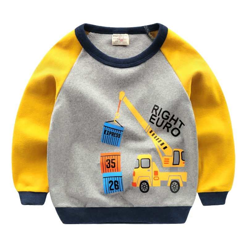 2018 spring children cotton casual clothing long sleeved pullovers sweatshirts baby printing cute cars clothes boys girls suit