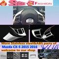 Para Mazda CX-5 2015 2016 CX5 coche detector stick styling cubierta Cromo Del ABS de la rueda interior interior Kit marco de la lámpara Del Ajuste 2 unids