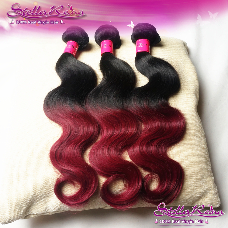 Stella Reina 2 Tone Ombre Burgundy Brazilian Hair Body Wave Weaves 3