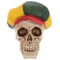 1Piece Skull Ornament Rasta Hat Human Skeleton Head Figurine Horror Skulls Statue Rastafarian Table Decoration