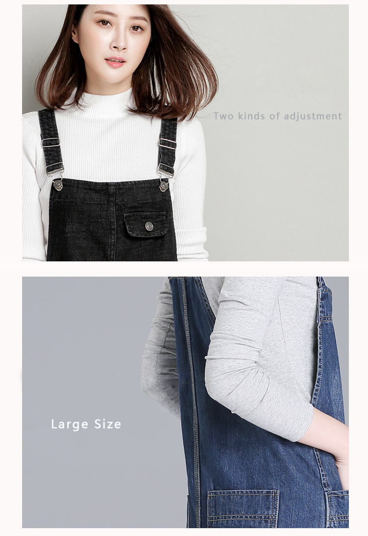 2018 HCYO spring new 200 pounds fat mm jeans women's trousers Korean version of the loose large size women's bib pants (2)