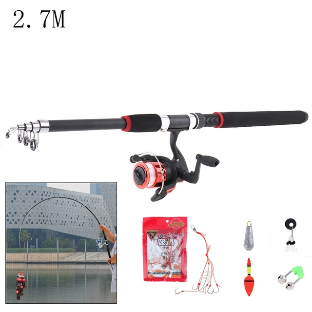 Durable 2.7m Fishing Rod Reel Line Combo Full Kits Spinning Reel Pole Set with Fishing Float Hooks Beads Bell Lead weight