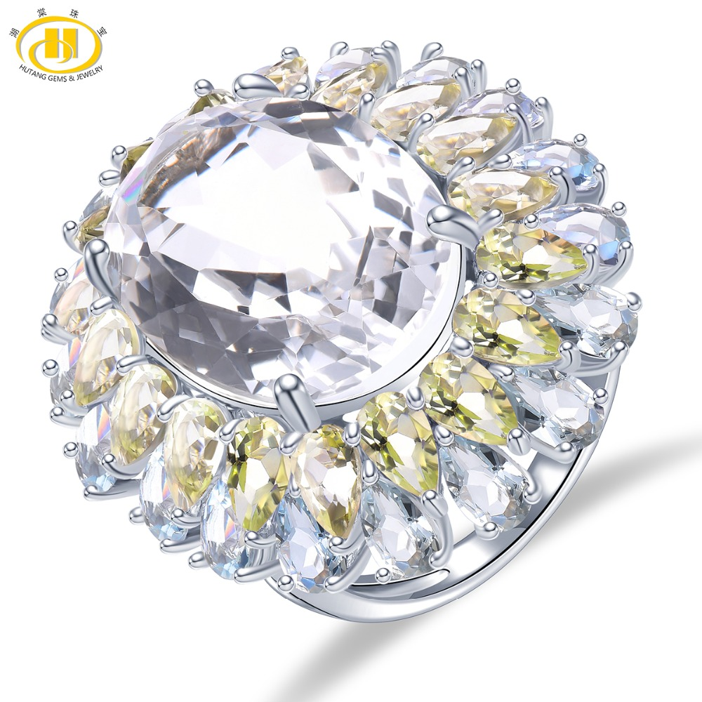 Hutang Wedding Rings Natural Gemstone 16ct Topaz Solid 925 Sterling Silver Lemon Quartz Ring Fine Jewelry