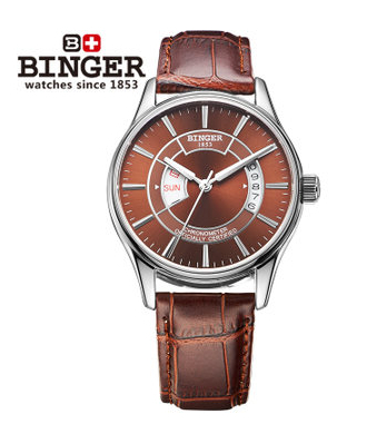 Professional exquisite hollow design watches automatic mechanical men formal watch brown leather business Binger wristwatch