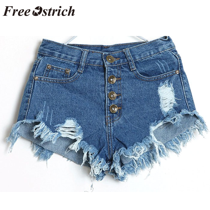 FREE OSTRICH Women's trend retro tassel washable water ultra   short   high waist personality open buckle fashion hole denim   shorts