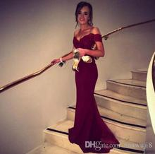2017 New Fashion Satin ushers Dark Red Mermaid Prom Dress Cap Sleeve Boat Neck Lace Backless Evening Dresses Bridesmaid Dress