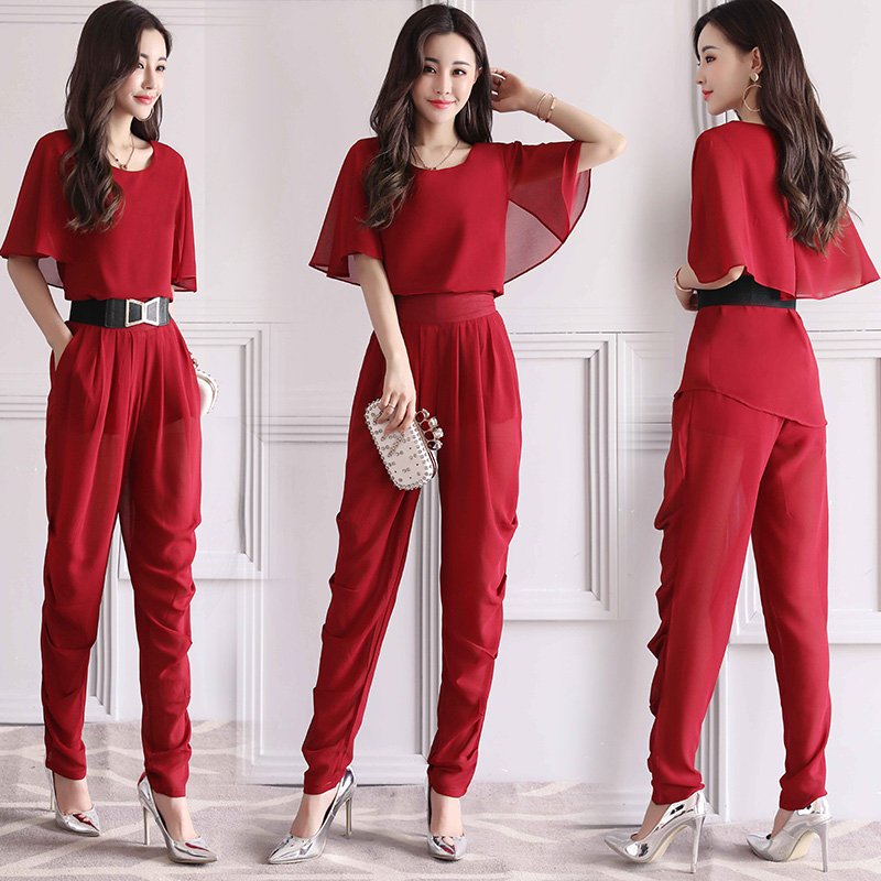 Womens Trousers Suits 2018 New Summer Two Pieces Sets Women Short Sleeve solid chiffon shirt and
