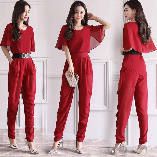 4eecf9166 Para Mujer Pantalones trajes 2018 nuevo verano dos piezas conjuntos de las  mujeres de manga corta