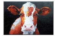 Damenight 100% ручной росписью маслом на холсте 1 Панель Коричневая Корова живопись Современная животных картина маслом