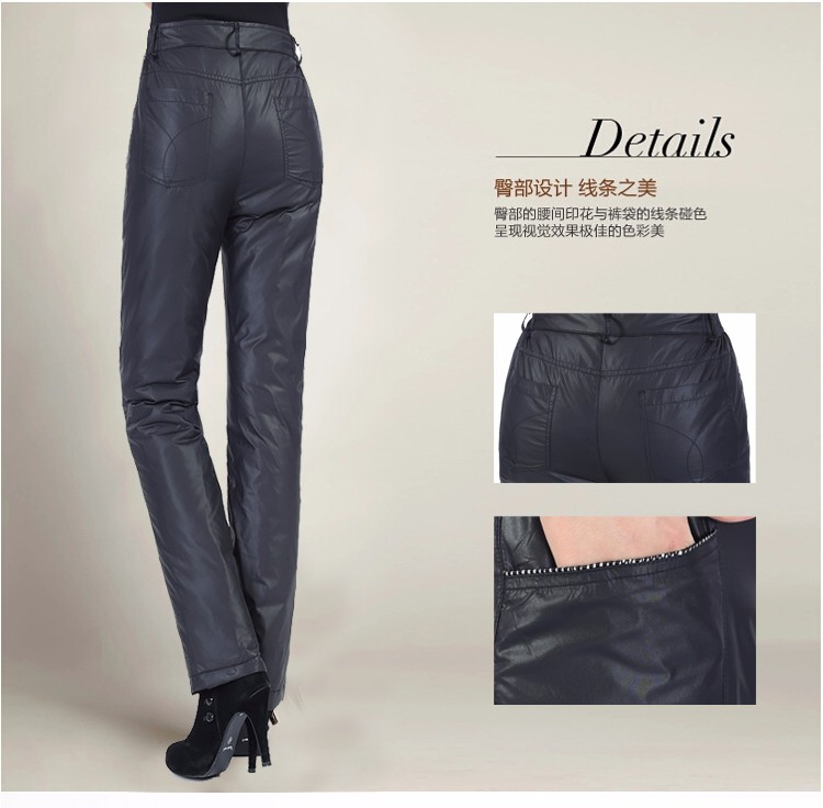 New Women Winter Warm Duck Down Wadded Trousers For Mature Woman Slim Fit Black Lightweight Down Pants With Zipper Waist Patalones Femme (13)