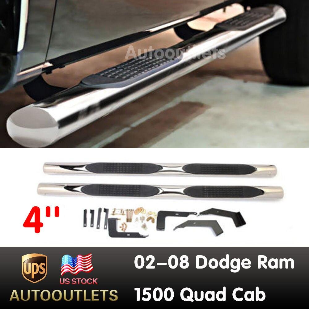 """3/"""" Black Nerf Bar Side Steps Boards For 2002-2008 Dodge Ram 1500 Quad Cab 4 Door"""