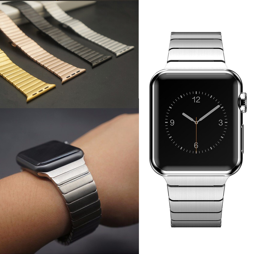 Stainless Steel Watchband Replacement Wrist Strap Bracelet with Butterfly Buckle Clasp for Apple Watch Series 1/2/3 All Models stylish 29 led 3 color light digit stainless steel bracelet wrist watch black