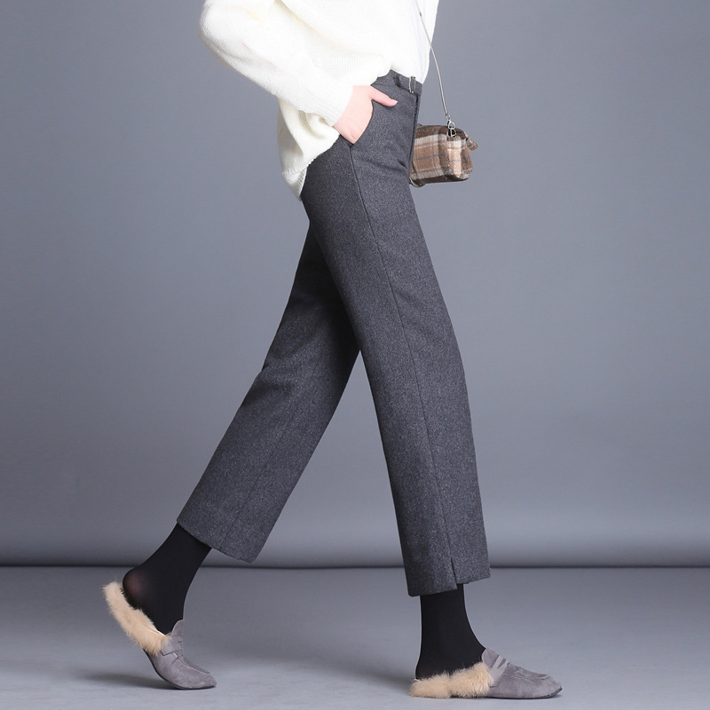 Elegant Autumn Winter Wool Women's Straight Pants Office Ladies Wool Warm Pant Plus Size Mid Waist Trousers Ankle length Pants