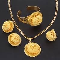 Bangrui Gold Ethiopian Jewelry Sets Pendant Necklace Earrings Ring Bangle Gold Plated Eritrean Style Jewelry Africa