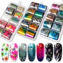 DIY Nail Sticker Decoration Tips Holographic Foil Set Art Transfer Manicure for Gel Varnish