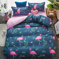 4pcs Nordic Romantic Flamingo Leaf Print Bedding Sets Duvet Cover Soft Polyester Bed Flat Bed Sheet