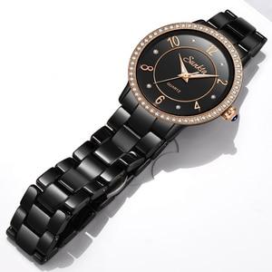 Image 2 - SunKta Luxus Rose Gold Schwarz Keramik Wasserdichte Uhren Frau Klassische Serie Damen Uhr Top Qualität Damen Strass Uhr