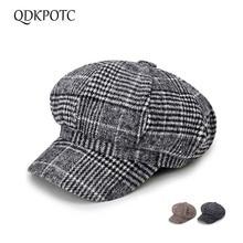 QDKPOTC 2018 New Fashion Retro Wool Blend Newsboy Cap High Quality Beret Plaid Octagonal Hat for Men Women