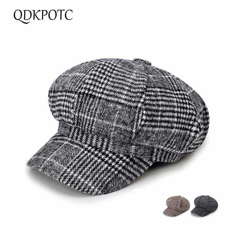QDKPOTC 2018 جديد أزياء الرجعية الصوف مزيج موزع الصحف قبعة عالية الجودة قبعة منقوشة مثمنة قبعة للرجال النساء كاب